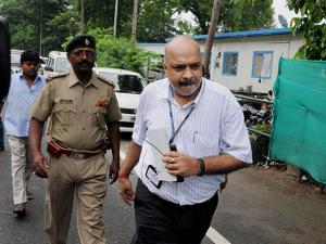 A CBI officer outside RJD Chief Lalu Prasad's residence