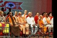 RSS chief Mohan Bhagwat with leaders and spiritual guru's celebrate Vishwa Hindu Parishad (VHP) 50 years