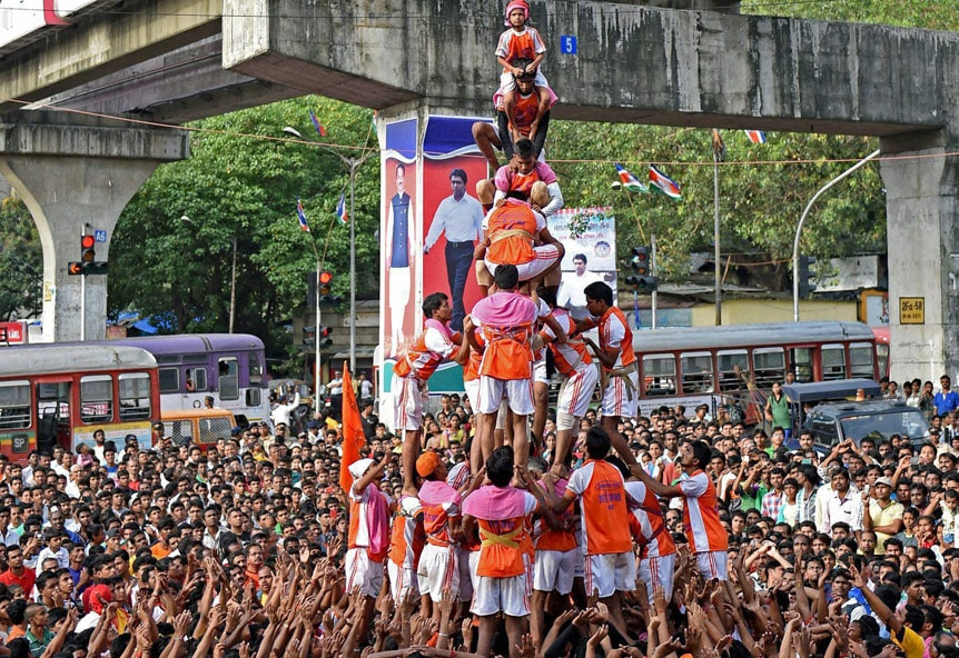 People, celebrating, Dahi Handi festival, occasion, Janmashtami, Mumbai