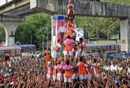 People celebrating the Dahi Handi festival