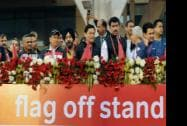 Sarbananda Sonowal, Mos Rajyavardhan Singh Rathore ,BJP MP Anurag Thakur and actress Bipasha Basu cheer the participants