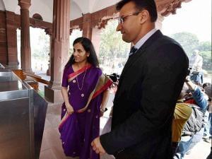 Chanda Kochhar arrives at Parliament house
