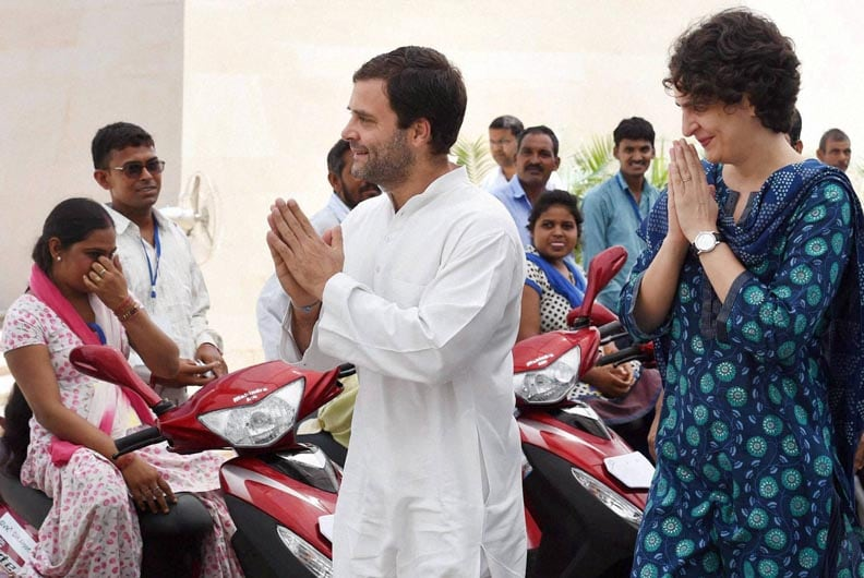 Congress Party, Vice-President, Rahul Gandhi, Priyanka Vadra, charity, event, distribute, three-wheel, scooters, disabled, persons, New Delhi