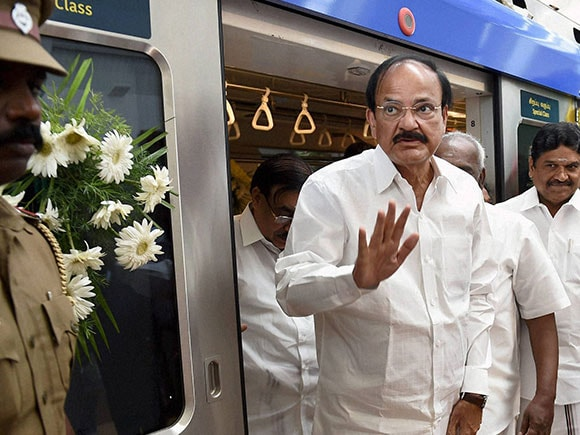 Venkaiah Naidu, Chennai Metro Rail, flagging-off ceremony, Metro Rail, Madras