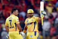 Chennai Super Kings Faf Du Plesis with team mates celebrates the wicket of Manvender Bisla