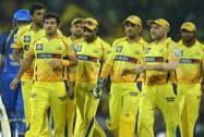 Chennai Super Kings' Mohit Sharma celebrates  with teammates after dismissing Rajasthan Royal's Ajinkya Rahane