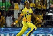 Chennai Super Kings' player D Bravo takes a catch of Rajasthan Royal's Shane Watson