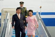 Chinese President XI Jinping and his wife Peng Liyuan upon their arrival at Sardar Patel International Airport