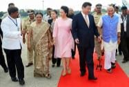 Chinese President XI Jinping being received by Gujarat Governor OP Kohli and CM Anandiben Patel