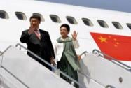 Chinese President Xi Jinping arrives with his wife Peng Liyuan