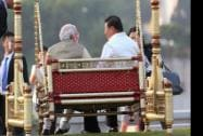 Prime Minister Narendra Modi and Chinese President Xi Jinping on a traditional swing