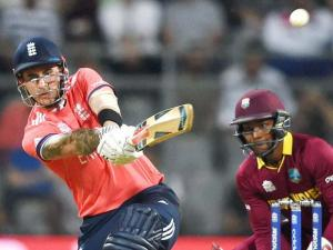 England's Alex Hales plays shot against West Indies during a T20 World Cup match at Wankhede Stadium