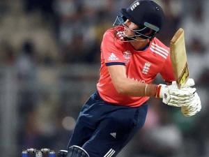 England's Joe Root plays a shot during an ICC WT20 match against West Indies at Wankhede