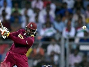 West Indies' Chris Gayle in action during a ICC WT20 match against England at Wankhede