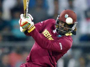 West Indies' Chris Gayle in action during a ICC WT20 match against England at Wankhede Stadium