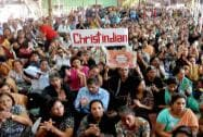 Christians holding a rally in Mumbai