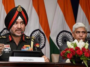 Ranbir Singh DGMO along  with External Affairs Spokesperson Vikas Swarup