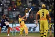 Chennai Super Kings batsman M S Dhoni hits a winning six