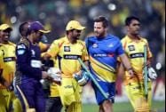 Chennai Super Kings batsman M S Dhoni,Suresh Raina with team mates celebrates the win