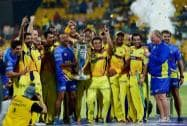 Chennai Super Kings players with  CLT20 Trophy