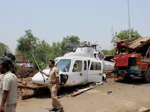 The wreckage of the Sikorsky VT-CMM helicopter, carrying Maharashtra chief minister Devendra Fadnavis