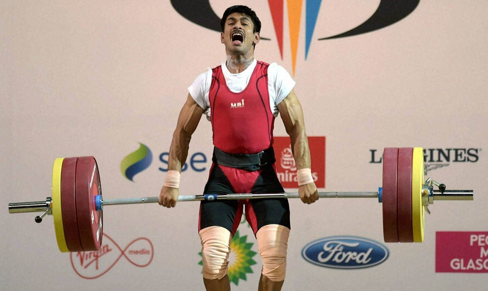 India's, Omkar Otari, competes, Men's, 69kg, weightlifting, final, Commonwealth Games 2014, Glasgow