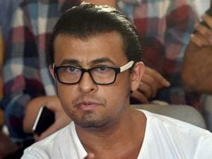 Playback singer Sonu Nigam interacts with the media