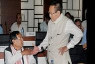 Purno A Sangma, MP and former Lok Sabha speaker with Nagaland Chief Minister T. R. Zeliang