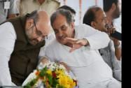 BJP President Amit Shah with rebel Congress leader Chaudhary Birendra Singh who joined BJP