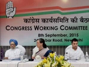 Sonia Gandhi with Rahul Gandhi and Manmohan Singh