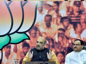 BJP President Amit Shah along with Union Ministers J P Nadda and Piyush Goyal address media at the party office in New Delhi