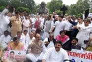 Congress protest over MPs suspension in Parliament