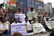 Youth Congress protests against suspension of 25MPs