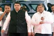 Devendra Fadnavis arrives with the party leader Chandrakant Patil at  Maharashtra Assembly