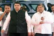 Devendra Fadnavis arrives with the party leader Chandrakant Patil at  Maharashtra Assembly
