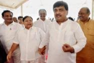 Maharashtra Congress chief Ashok Chavan along with other party leaders arrives at the Maharashtra Assembly