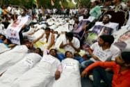 Congress workers protest against Modi Government