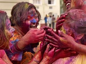Students of Presidency University celebrate Holi