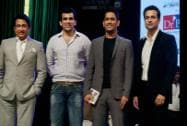 Actor Shekhar Suman, cricketer Zaheer Khan and M S Dhoni and actor Rohit Roy pose