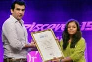 Cricketer Zaheer Khan gives away the Positive Health Award to Arunima Sinha, the first female amputee to climb Everest