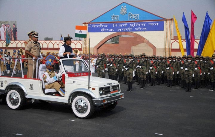 Union Home Minister Rajnath Singh, lays, wreath, Martyrs' Memorial,  occasion, Diamond Jubilee Parade, CRPF campus