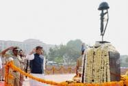 Union Home Minister Rajnath Singh lays the wreath at the Martyrs' Memorial on the occasion of CRPF