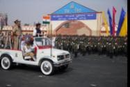 Union Home Minister Rajnath Singh reviews the parade