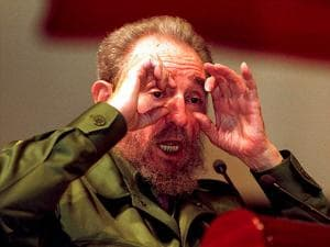 Cuba's leader Fidel Castro gestures at a speaking event on Aug 18 1999