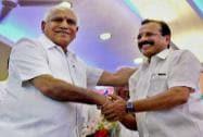 B S Yeddyurappa greets Sadananda Gowda