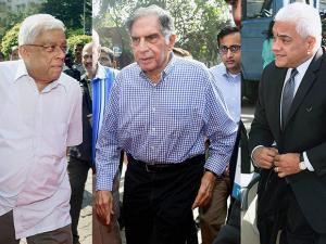 Deepak Parekh, Director, India Hotels Company Ltd., Tata Sons interim Chairman Ratan Tata and Rakesh Sharma, CEO, India Hotels Company Ltd. arrive for the India Hotels Company Ltd. EGM