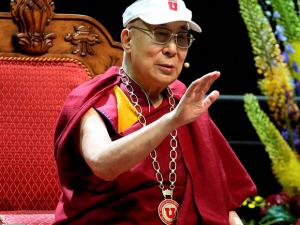 The Dalai Lama speaks at the Huntsman Center at the University of Utah
