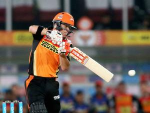 Sunrisers Hyderabad captain David Warner plays a shot against Mumbai Indians during Indian Premier League (IPL) 2016 T20 match in Hyderabad