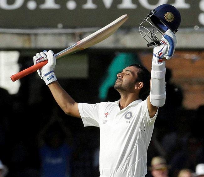 India's, Ajinkya Rahane, celebrates, scoring, century, first day, second test match, England, India, Lord's, cricket, ground, London