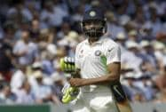 India's Ravindra Jadeja leaves the field after being bowled LBW by England's Moeen Ali